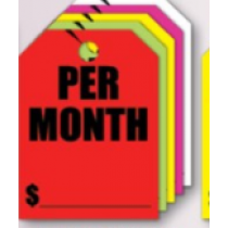 Fluorescent Mirror Hang Tags- Per Month