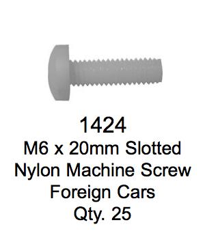 License Plate Fasteners 1424 Slotted Nylon Machine Screw