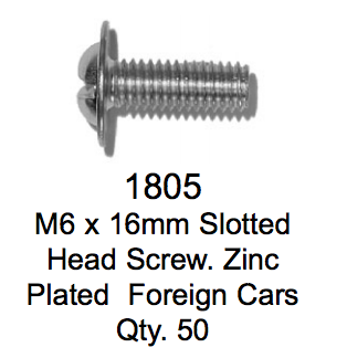 License Plate Fasteners 1805 Head Screw