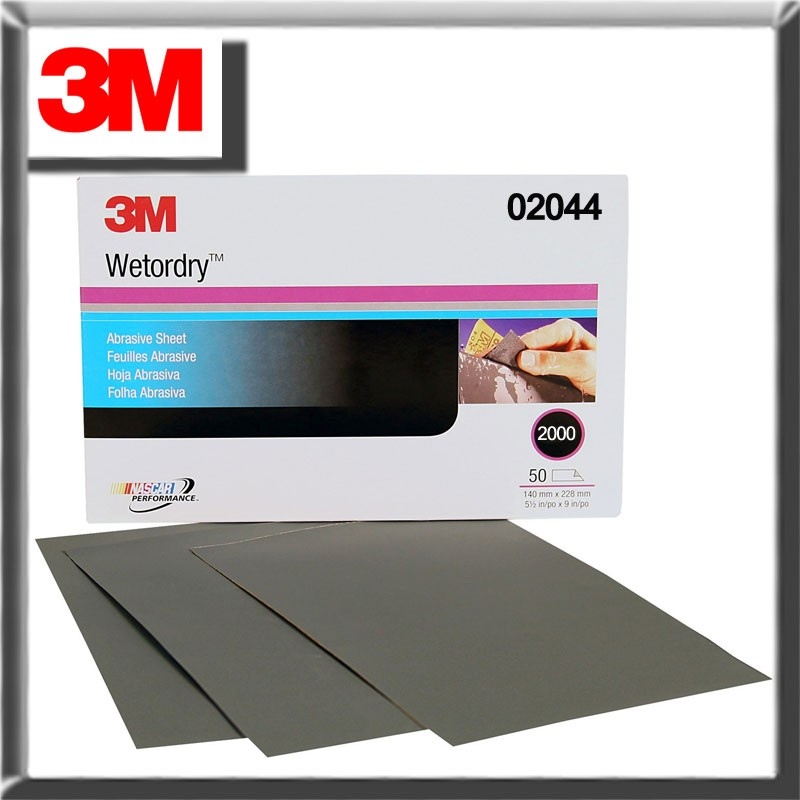 3M Wetordry Sheet, 2000 GRIT, 5.5 x 9 inch 02044