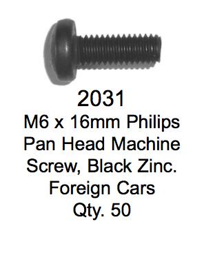 License Plate Fasteners 2031 Pan Head Macine Screw