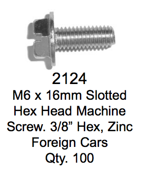 License Plate Fasteners 2124 Hex Head Machine Screw