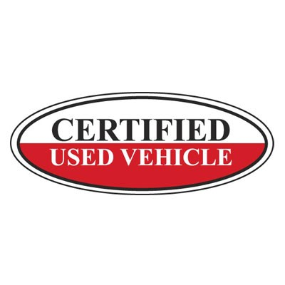 Certified Used Vehicle Oval Sign {White/Black/Red}