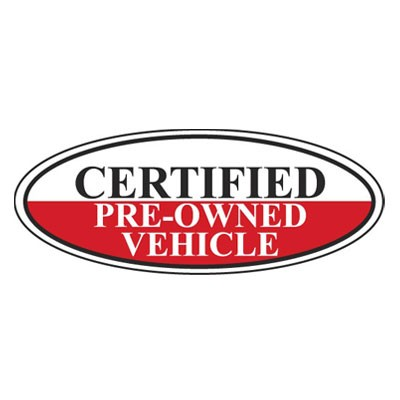 Certified Pre-Owned Vehicle Oval Sign {White/Black/Red}