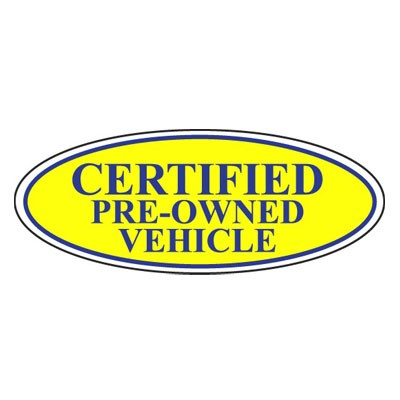 Certified Pre-Owned Vehicle Oval Sign {Blue/Yellow}