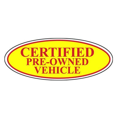 Certified Pre-Owned Vehicle Oval Sign {Red/Yellow}