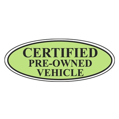 Certified Pre-Owned Vehicle Oval Sign {Black/Chartreuse}