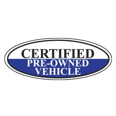 Certified Pre-Owned Vehicle Oval Sign {White/Black/Blue}