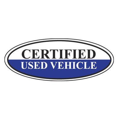 Certified Used Vehicle Oval Sign {White/Black/Blue}