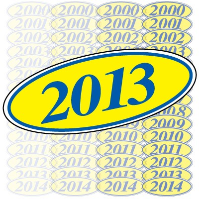 Blue & Yellow Oval Year Model