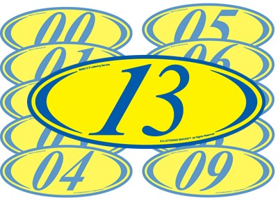 Blue & Yellow Two Digit Oval Year Model
