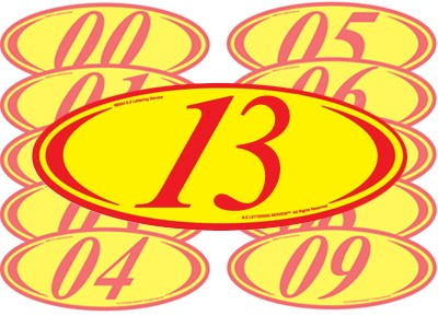 Red & Yellow Two Digit Oval Year Model