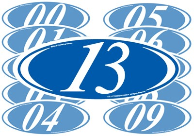 White & Blue Two Digit Oval Year Model