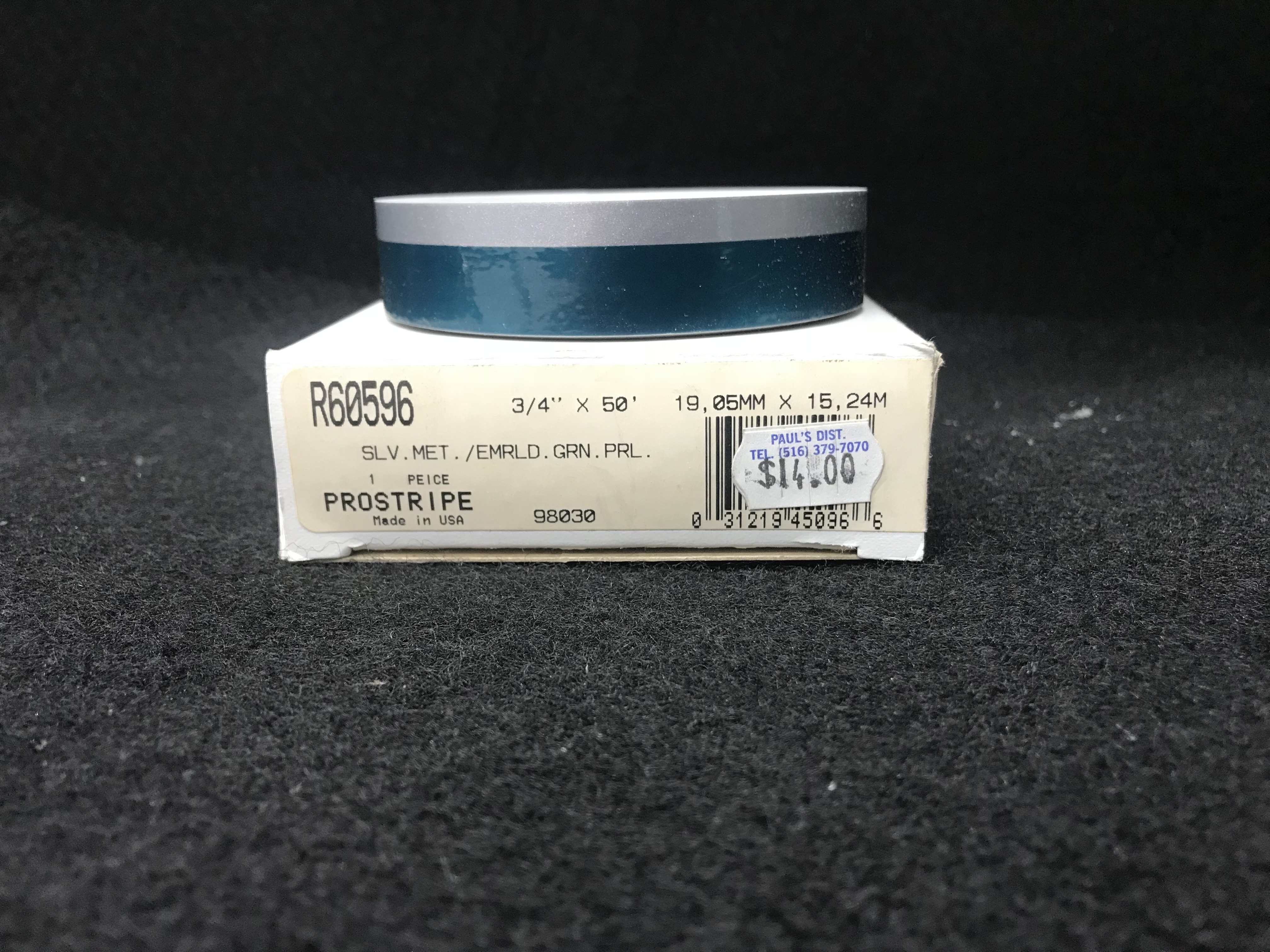 "ProStripe R60596 Silver Metallic/Emerald Green Pearl Multi Stripe 3/4"" x 50'"