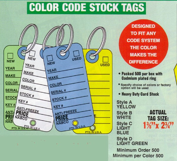 NABCO Key Tags: Color Code Vehicle Stock Tags