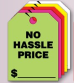 Fluorescent Mirror Hang Tags- No Hassle Price