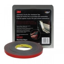 3M Automotive Acrylic Plus Attachment Tape, Black, 1/2 inch X 20 yards, 45 mil, 06382