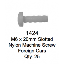 License Plate Fasteners 1424 Slotted Nylon Machine Screw