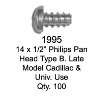 License Plate Fasteners 1995 Philips Pan Head Type