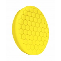 "7.5"" US Yellow Med. Cutting/Polishing Hex Faced Foam Grip Pad with Center Ring Backing"