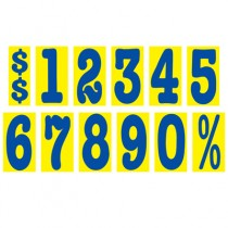 Mid-Size Blue & Yellow Adhesive Number