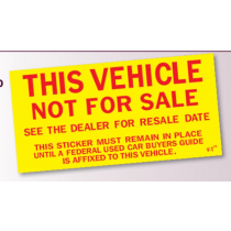 This Vehicle is Not for Sale- 100pk