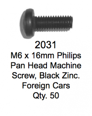 License Plate Fasteners 2031 Pan Head Macine Screw