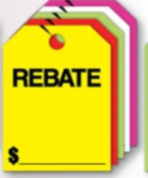 Fluorescent Mirror Hang Tags- Rebate